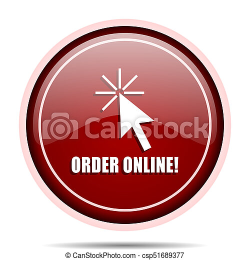 Order online red glossy round web icon. Circle isolated internet button for webdesign and smartphone applications. - csp51689377