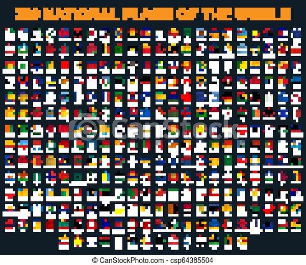 Todas las banderas del mundo en orden alfabético. Estilo redondo y brillante. - csp64385504