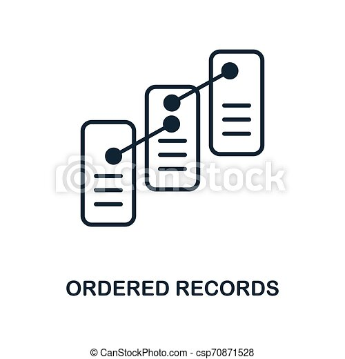 Ordered Records icon. Monochrome style design from blockchain icon collection. UI and UX. Pixel perfect ordered records icon. For web design, apps, software, print usage. - csp70871528
