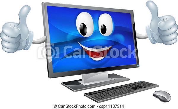 ordinateur bureau, mascotte - csp11187314