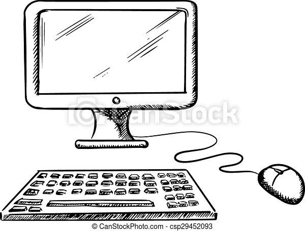 Ordinateur clavier souris bureau moniteur informatique - Souris ordinateur dessin ...