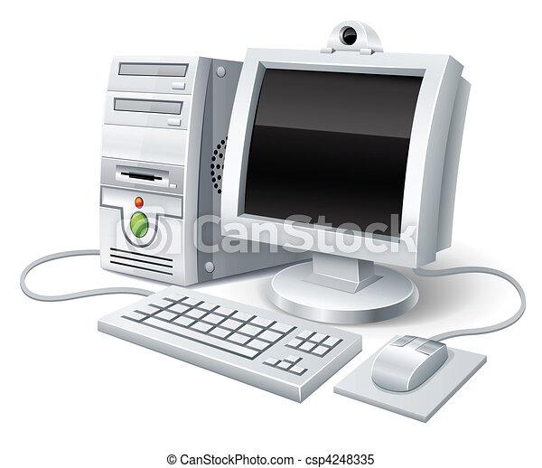 ordinateur pc, souris, moniteur, clavier - csp4248335