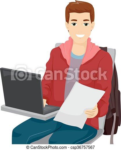 ordinateur portable tudiant homme sien ordinateur clip art vectoriel rechercher des. Black Bedroom Furniture Sets. Home Design Ideas
