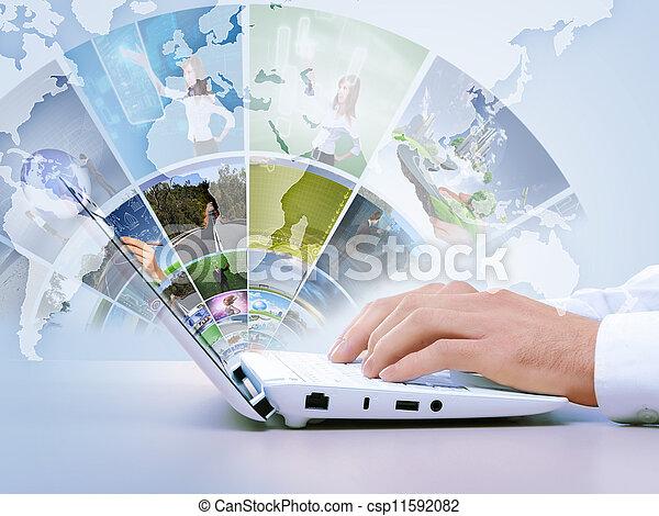 ordinateur portable, concept, moderne, multimédia - csp11592082