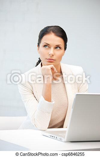 ordinateur portable, femme, informatique, songeur - csp6846255