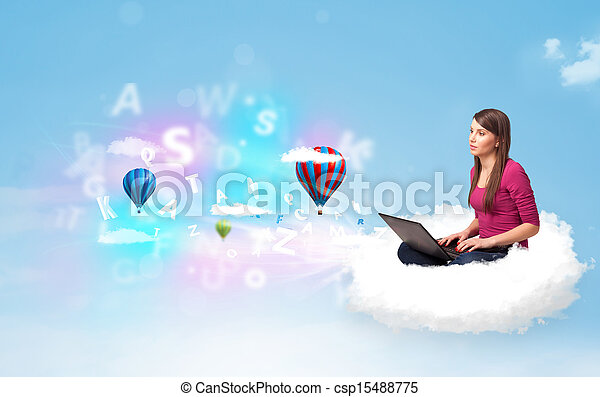 ordinateur portable, femme, jeune, nuage, séance - csp15488775