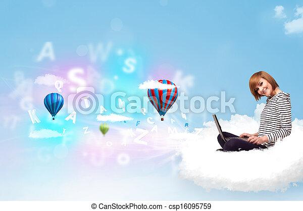 ordinateur portable, femme, jeune, nuage, séance - csp16095759