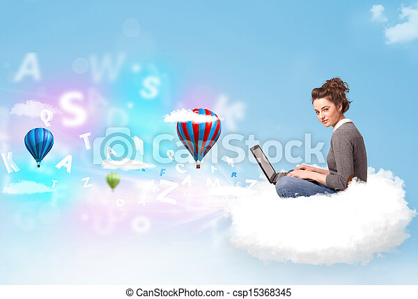 ordinateur portable, femme, jeune, nuage, séance - csp15368345