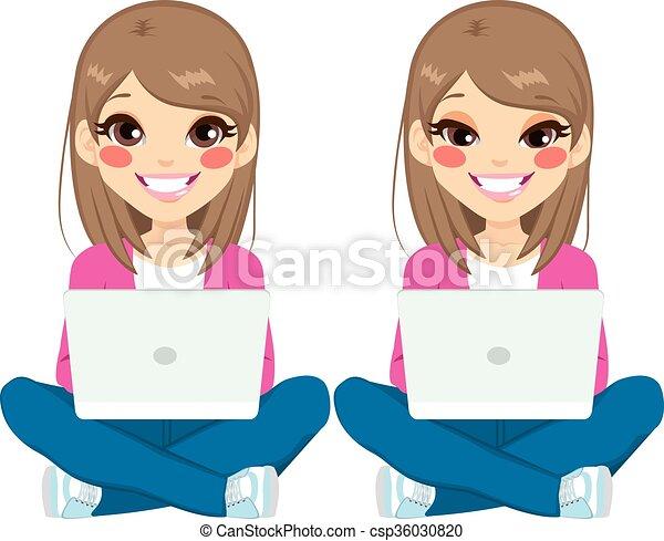 Assez Illustration Vecteur de ordinateur portable, fille repos  CN82