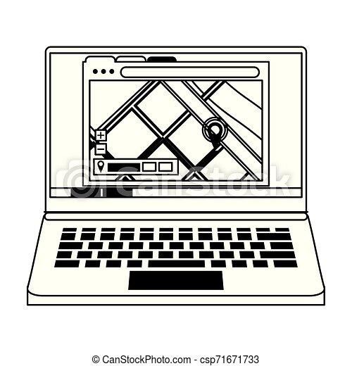Ordinateur Portable Matériel Noir Blanc Technologie Dessin Animé