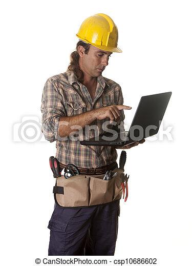 ordinateur portable, ouvrier - csp10686602