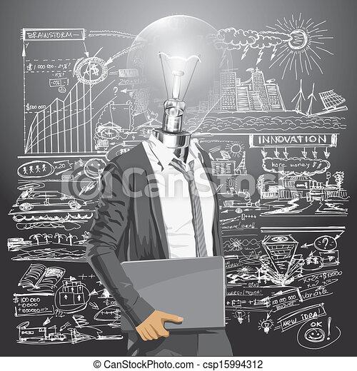 ordinateur portable, phare, homme - csp15994312