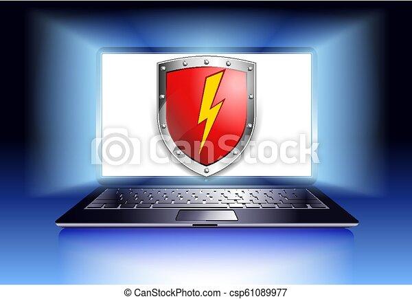 ordinateur portable, protection, informatique, bouclier, sécurité - csp61089977