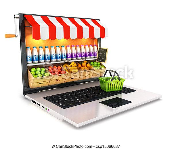 ordinateur portable, supermarché, 3d - csp15066837