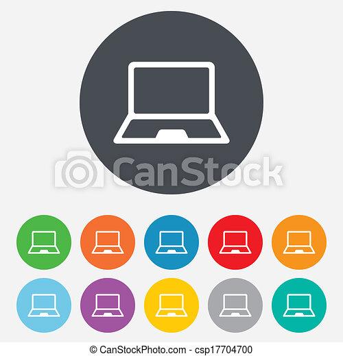 ordinateur portable, symbole., signe, pc, cahier, icon. - csp17704700