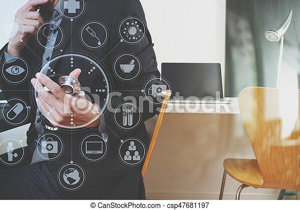 ordinateur portable, tablette graphique, fonctionnement, docteur, hôpital, moderne, virtuel, téléphone, informatique, stéthoscope, numérique, icônes, bureau, monde médical, intelligent - csp47681197