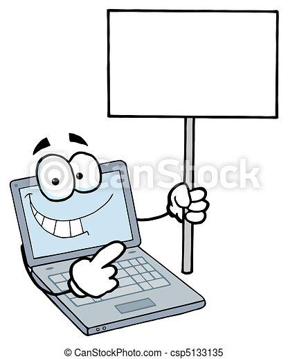 ordinateur portable, vide, type, tenue, signe - csp5133135