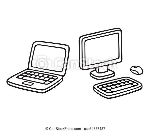 ordinateur portatif, dessin - csp64357487