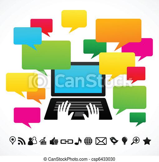 ordinateur portatif, parole, bulles - csp6433030