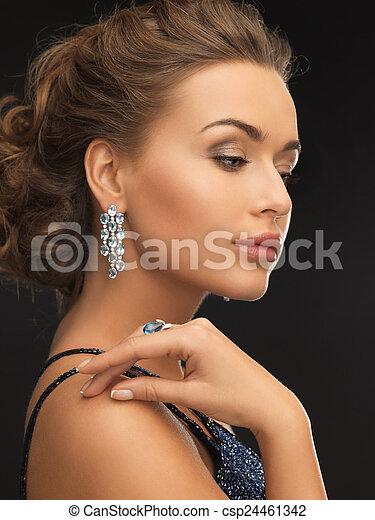 orecchini, anello, donna - csp24461342