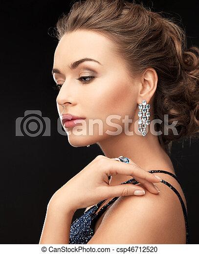 orecchini, anello, donna - csp46712520