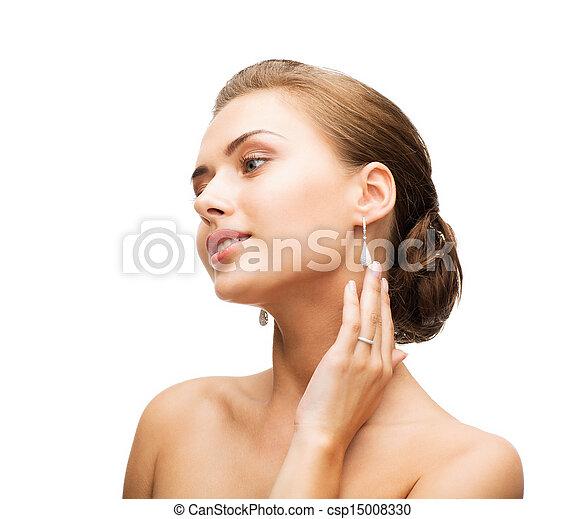orecchini, anello, donna, matrimonio - csp15008330