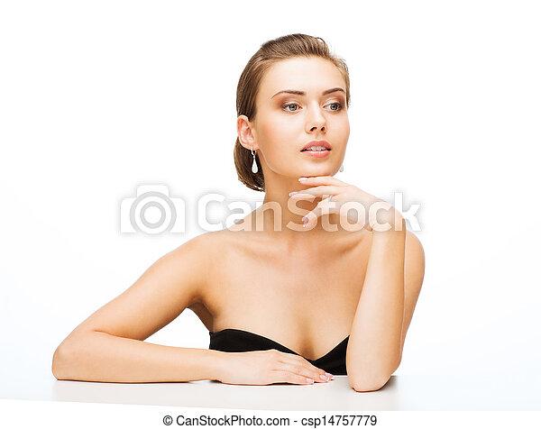 orecchini, anello, donna, matrimonio - csp14757779