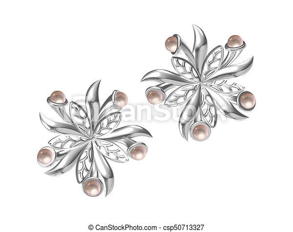 orecchini, bianco, rendering), isolato, (3d - csp50713327