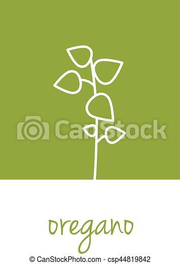oregano icon on green square - csp44819842
