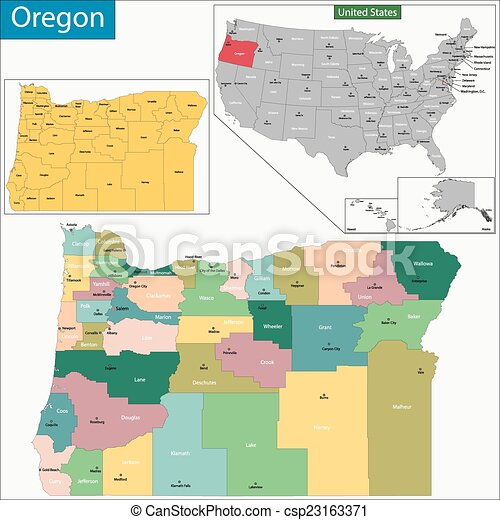 Oregon State Map With Counties.Oregon Map Map Of Oregon State Designed In Illustration With The