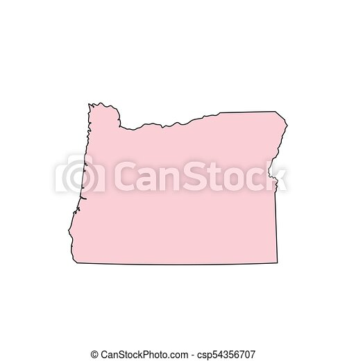 Oregon map isolated on white background silhouette. oregon usa state.