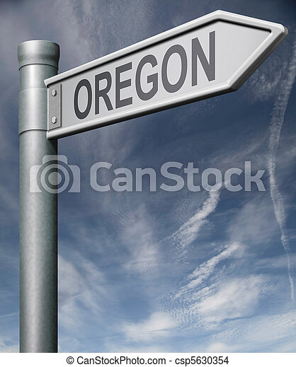 Oregon road sign usa states clipping path - csp5630354