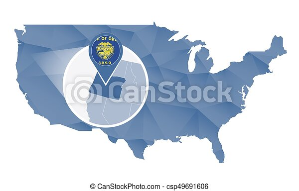 Line Art Usa Map : Oregon state magnified on united states map abstract usa