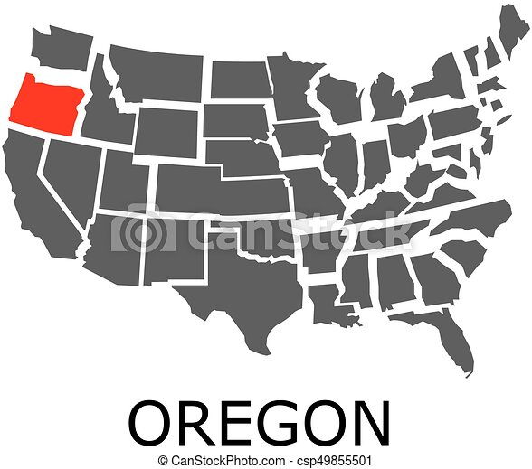Vector Clipart Of Oregon State On USA Map Bordering Map Of USA - Oregon usa map