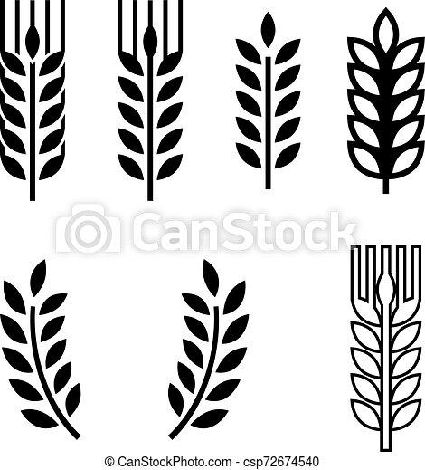 oreille, spica, blé, collection, icône - csp72674540