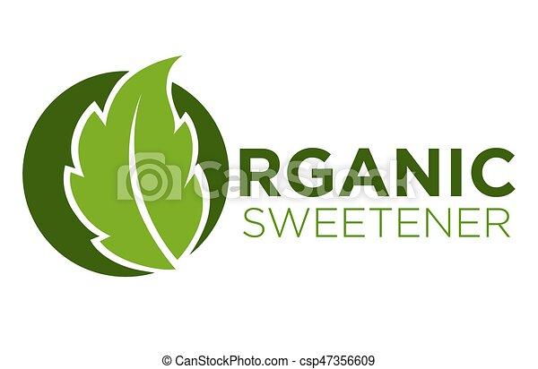 orgánico, dulce, símbolo, stevia, edulcorante, verde, logotipo, pasto o  césped, o