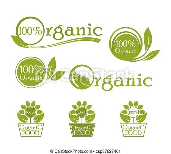 Ecología, icono orgánico. Logo orgánico, iconos para la comida natural. Bio, orgánico, vegetariano fresco, etc. Diseño de vectores verdes. - csp37627401