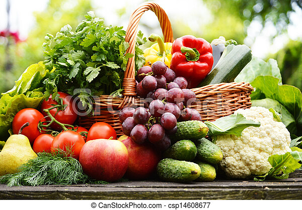 Verduras orgánicas frescas en cesta de mimbre en el jardín - csp14608677