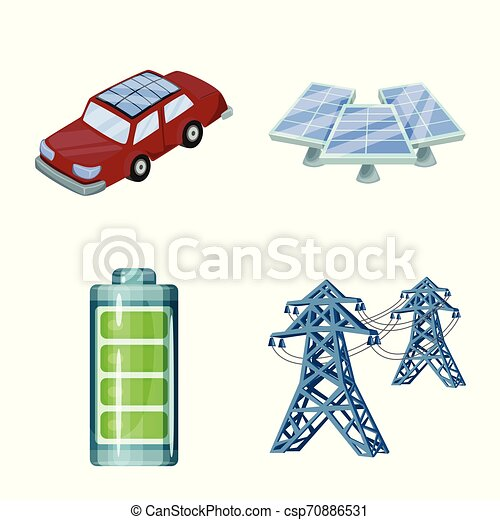Objeto aislado y símbolo orgánico. Colección de vectores solares y icono para acciones. - csp70886531