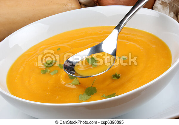 organic and healthy butternut squash creme soup - csp6390895