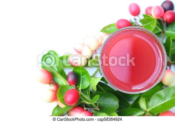 Organic carissa carandas juice and fresh fruits - csp58384924