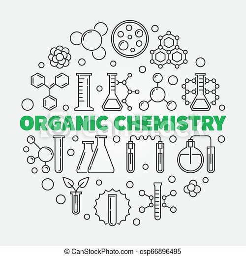 Organic Chemistry Vector Round Illustration In Thin Line Style Organic Chemistry Vector Concept Round Illustration In Thin