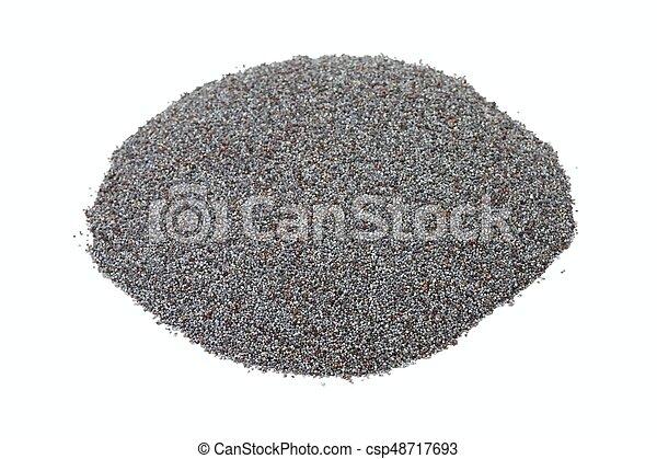 Organic dry poppy seeds on white background - csp48717693