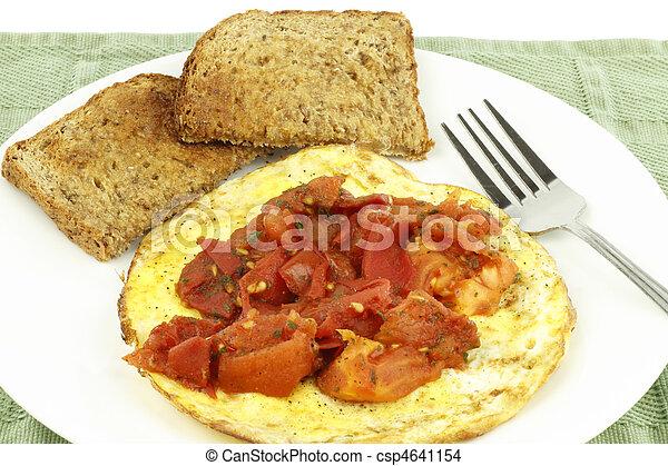 Organic Eggs Toast Tomato - csp4641154