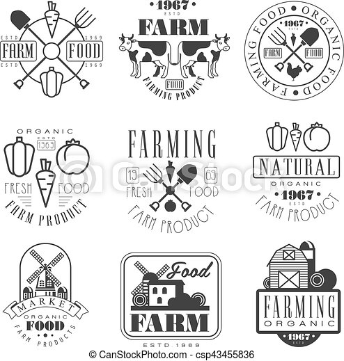 organic farm products black and white sign design templates with text and tools silhouettes collection of monochrome vector emblems for natural eco farming