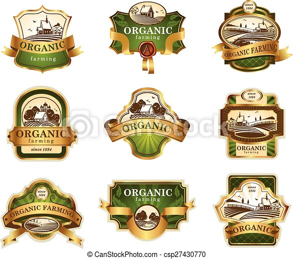 Organic farming lables - csp27430770