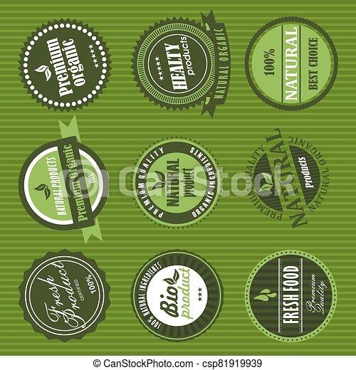 Organic Food Labels Element Vector Canstock