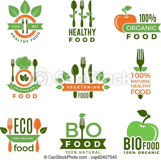 Organic Food Logo Eco Vegan Natural Health Ingredients For Badges Or Labels Vector Modern Quality Symbols Illustration Of
