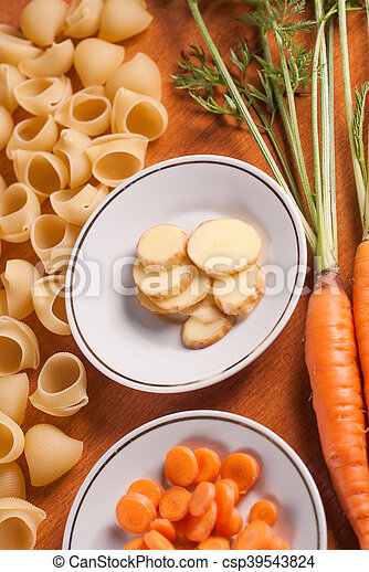 organic food on a wooden table, - csp39543824