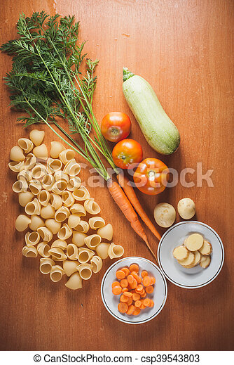 organic food on a wooden table, - csp39543803